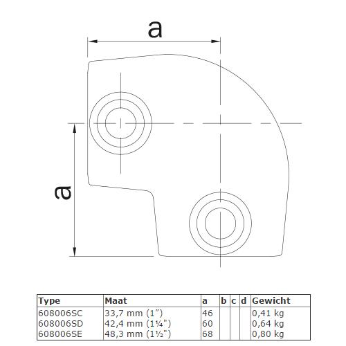 Steigerbuis koppeling Kniestuk 90° - variabele hoek van 0° - 11° afmetingen