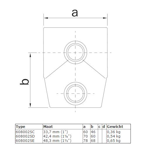 Steigerbuis koppeling Kort T-stuk - variabele hoek van 0° - 11° afmetingen
