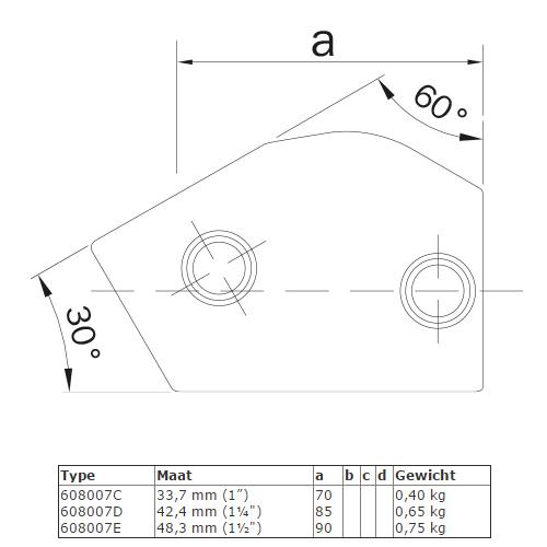 Steigerbuis koppeling verstelbaar kort T-stuk afmetingen