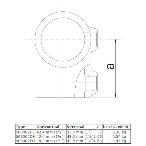 Steigerbuis-koppeling T-stuk - verloop DC afmetingen