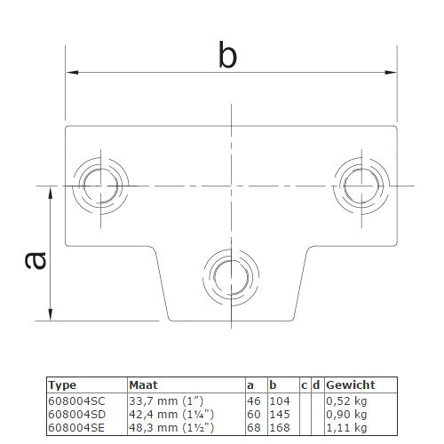Steigerbuis koppeling Lang T-stuk - variabele hoek van 0° - 11° afmetingen