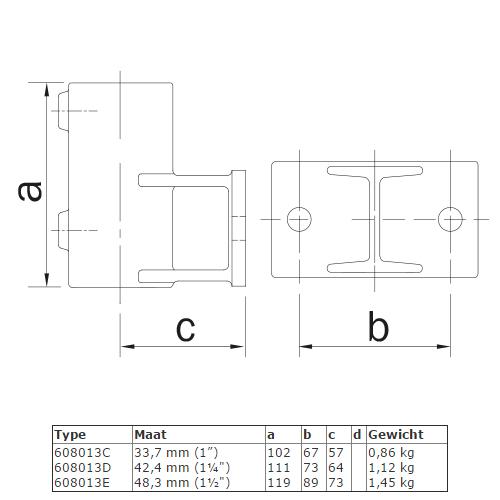 Steigerbuis koppeling boeiboordbevestiging (horizontaal) afmetingen