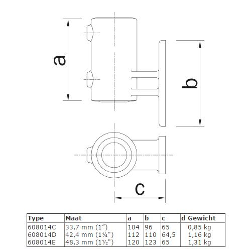 Steigerbuis koppeling boeiboordbevestiging (verticaal) afmetingen
