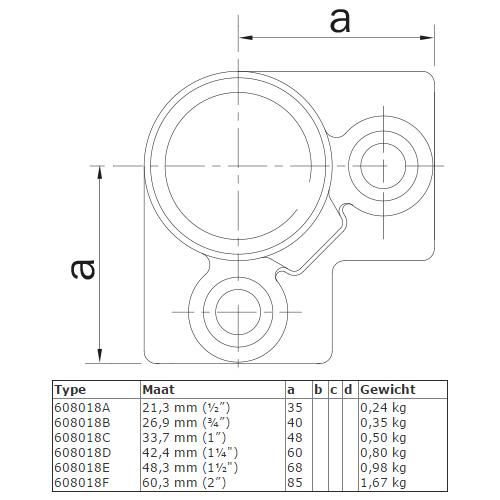 Steigerbuis koppeling drieweg kniestuk 90° afmetingen
