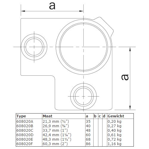 steigerbuis-koppeling-hoekstuk-doorlopende-staander-afmeting
