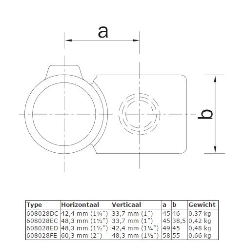 Steigerbuis koppeling kruisstuk 90° - verloop afmetingen