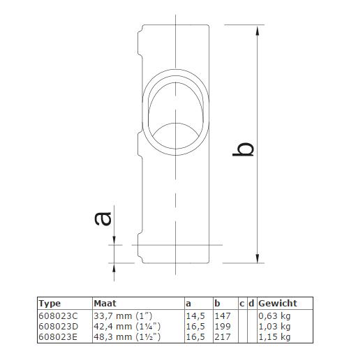 Steigerbuis koppeling kruisstuk voor helling 30° - 45° afmetingen