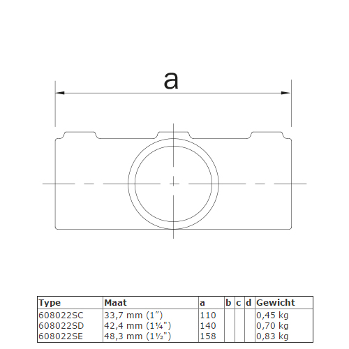 Steigerbuis koppeling kruisstuk in 1 vlak voor helling 0° - 11° afmetingen