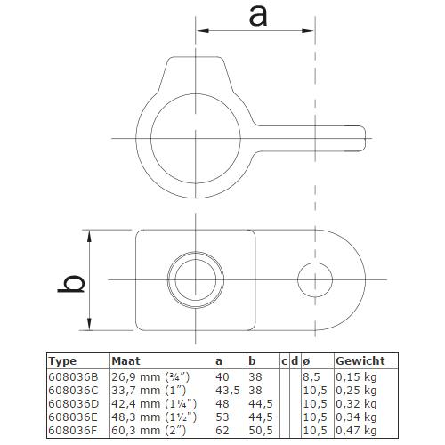 Steigerbuis koppeling oogdeel scharnierstuk afmetingen