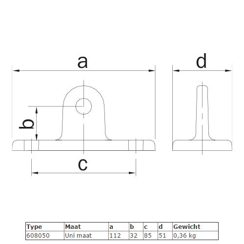 Steigerbuis koppeling oogdeel scharnierstuk (Uni maat) afmetingen