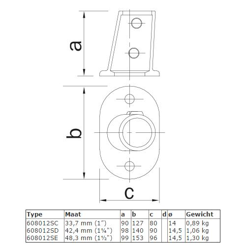 Steigerbuis koppeling ovale voetplaat - variabele hoek van 0° - 11° afmetingen