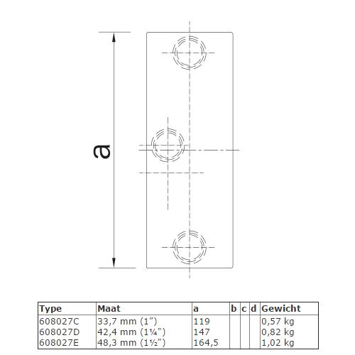 Steigerbuis koppeling Railingbevestiging tot 45° afmetingen