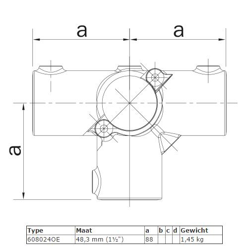 Steigerbuis koppeling open (klapbaar) T-Stuk met zij-uitgang afmetingen