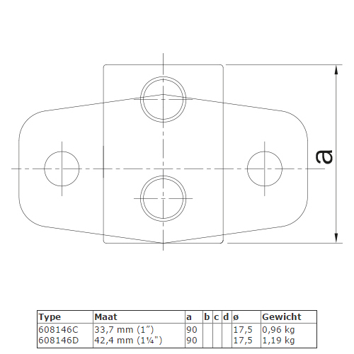 Steigerbuis koppeling extra zware boeiboordbevestiging horizontaal type C en D afmetingen