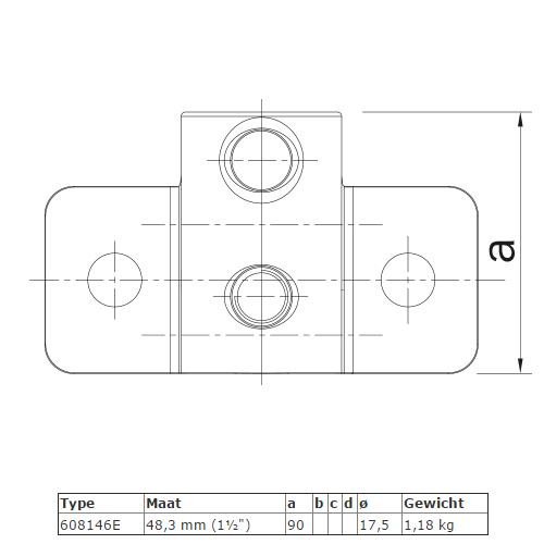 Steigerbuis koppeling extra zware boeiboordbevestiging horizontaal type E afmetingen