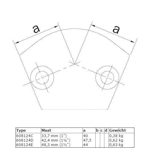 Steigerbuis koppeling variabel kniestuk 15° - 60° afmetingen