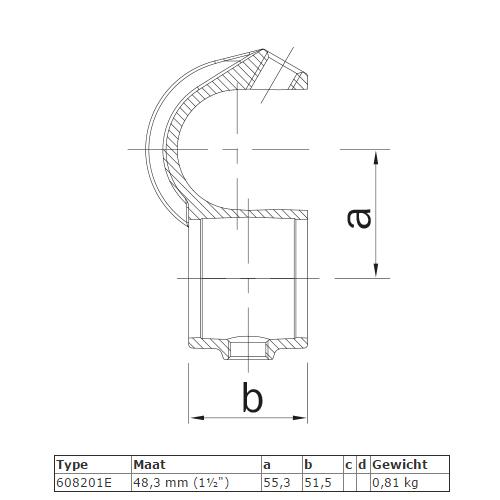 Steigerbuis koppeling open kruisstuk met inleg afmetingen