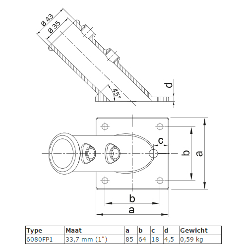 Steigerbuis koppeling vlaggenstokhouder type FP1 afmetingen