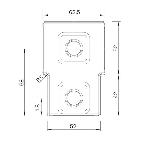 Kort T-stuk haaks vierkant afmetingen